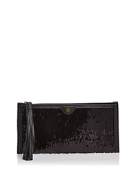 Tory Burch Sequin Clutch Black Gold