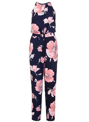 Quiz Navy And Pink Flower Jumpsuit Navy