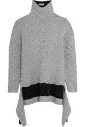 Balenciaga Asymmetric Metallic Knitted Turtleneck Sweater Silver
