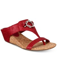 Impo Guevera Slip On Thong Wedge Sandals Women's Shoes Red