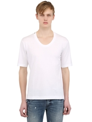 Dolce And Gabbana Scoop Neck Cotton T Shirt White