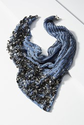 Anthropologie Sequin Scarf Necklace Navy