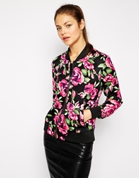 Ax Paris Floral Bomber Jacket Black