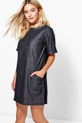 Boohoo Slouch Pocket Denim Dress Black