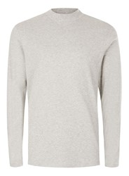 Topman Selected Homme Grey Marl High Neck Long Sleeve T Shirt