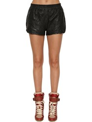 Zadig And Voltaire Crinkled Leather Shorts Black