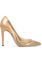 Rene Caovilla Paneled Crystal Embellished Satin Gold