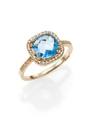 Suzanne Kalan Swiss Blue Topaz White Sapphire And 14K Yellow Gold Cushion Ring
