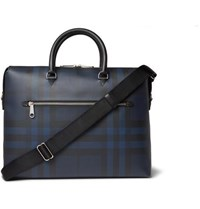 Burberry Checked Textured Leather Briefcase Navy