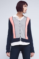 Anthropologie Cropped Colorblock Cardigan Navy