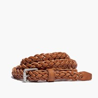Madewell Leather Skinny Braided Belt Desert Camel