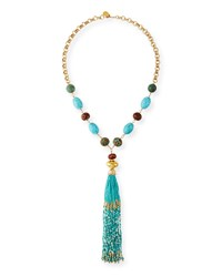 Devon Leigh Turquoise And Seed Bead Tassel Necklace
