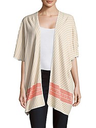 Leo And Sage Cotton Striped Open Front Cardigan Sand Jacquard