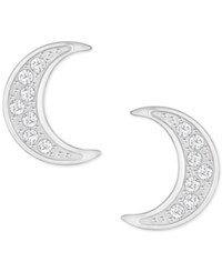 Swarovski Silver Tone Pave Moon Stud Earrings