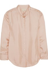 Band Of Outsiders Silk Satin Twill Shirt Pink