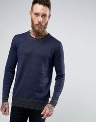 Scotch And Soda Knitted Crew Neck Jumper Navy