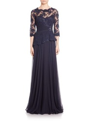 Teri Jon By Rickie Freeman Embellished Lace And Chiffon Gown Navy