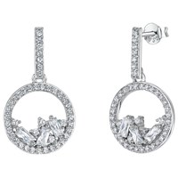 Jools By Jenny Brown Cubic Zirconia Gathered Gems Drop Earrings Silver