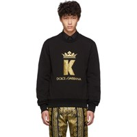 Dolce And Gabbana Black King Patch Sweatshirt
