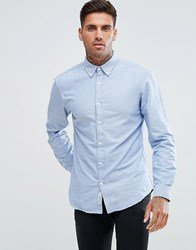 Pull And Bear Oxford Shirt In Sky Blue In Regular Fit Blue