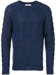 Closed Cable Knit Jumper Wool S Blue