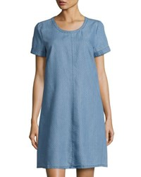 Neiman Marcus Pin Dot Short Sleeve Shift Dress Blue