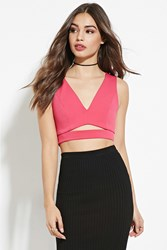 Forever 21 Cutout Front Crop Top Fuchsia