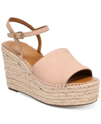 Franco Sarto Tula Platform Espadrille Wedge Sandals Women's Shoes Pink Leather
