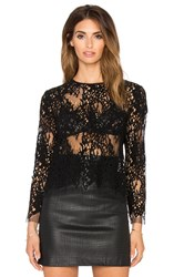Mason By Michelle Mason Long Sleeve Lace Tee Black
