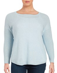 Lord And Taylor Plus Cashmere Knit Sweater Sky Blue Heather