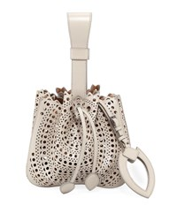 Alaia Rose Marie Small Bucket Bag Off White