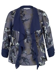 Chesca Fan Print Devoree Shrug Blue