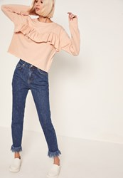 Missguided Pink Frill Front Sweatshirt