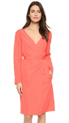 Nina Ricci V Neck Poplin Dress Papaya