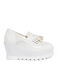 Pixie Market White Tassel Loafer Platforms