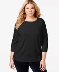 Karen Scott Plus Size Solid Crew Neck Sweater Only At Macy's Luxsoft Black