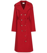 Khaite Lauren Cotton Trench Coat Red
