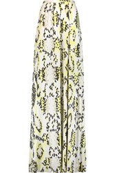 Issa Rigby Printed Silk Blend Jersey Maxi Skirt Chartreuse