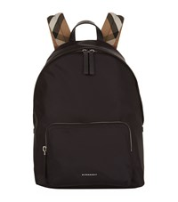 Burberry Shoes And Accessories Check Detail Nylon Backpack Unisex Black