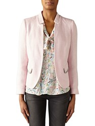 Helene For Denim Wardrobe Tweed Jacket With Fringe Trim Pink