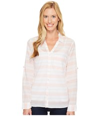 Columbia Early Tide Long Sleeve Shirt Lychee Stripe Women's Long Sleeve Pullover White