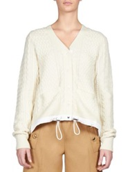 Sacai Luck Drawstring Cable Knit Cardigan Off White