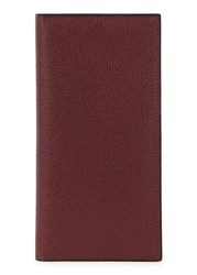 Valextra 12Cc Burgundy Grained Leather Wallet