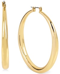 Kenneth Cole New York Gold Tone Large Hoop Earrings