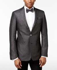 Tallia Men's Big And Tall Slim Fit Black Metallic Silver Diamond Dinner Jacket Open