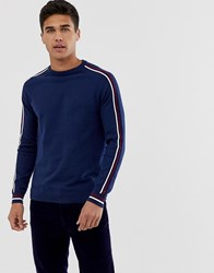 Burton Menswear Sports Crew Neck Jumper With Sleeve Piping In Blue