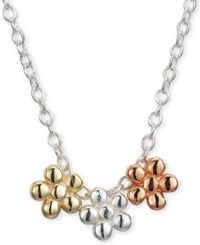 Unwritten Triple Flower Pendant Necklace In Sterling Silver Gold Plate And Rose Gold Plate 16 2 Extender Tri Tone