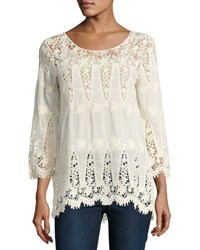 Liv Los Angeles 3 4 Sleeve Lace Embroidered Top Beige