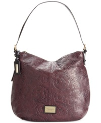Tignanello Classic Beauty Embossed Vintage Leather Hobo Eggplant Black Embossed