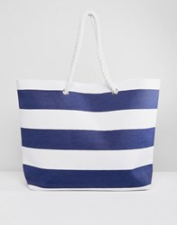 South Beach Stripe Tote Bag With Rope Handles Navy